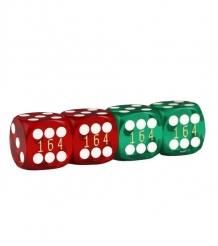 Precision dice 16 mm - set of 4 (Blue/Red)