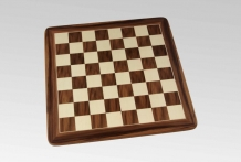 Walnut chessboard with round corners and palissander chess pieces Ulbrich